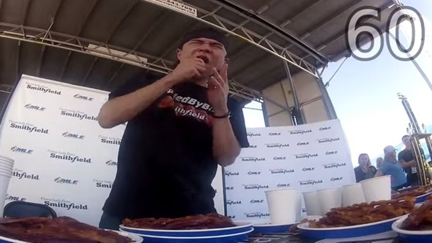 Matt Stonie takes down a whopping 182 slices of bacon in five minutes.