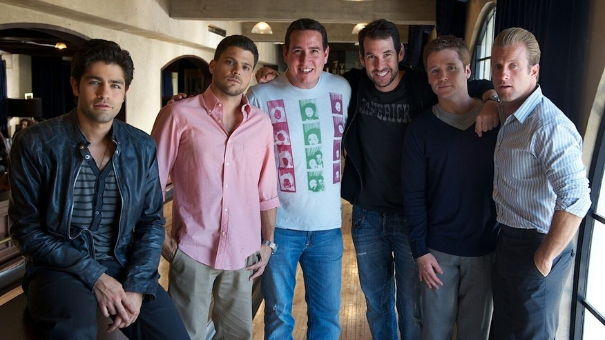 "Ken Austin, the founder of Tequila Avión, with the cast of ""Entourage."""