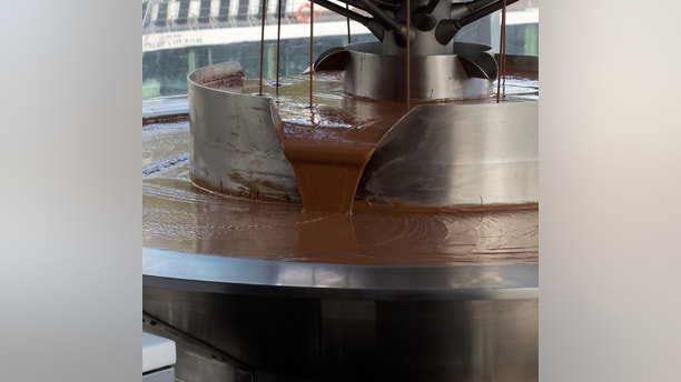 The Pouring chocolate in a chocolate factory