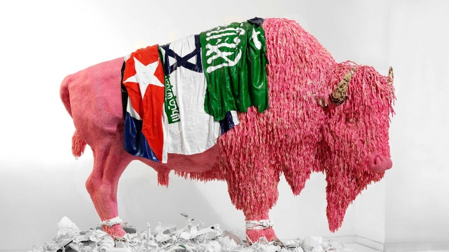 A bison made from bubblegum, 2007.