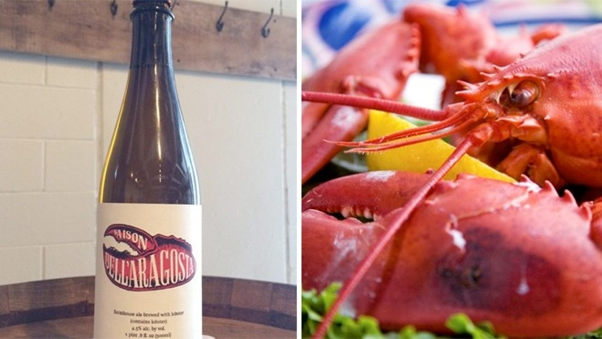 The beer is made with lobsters suspended in a kettle full of boiling wort during the brewing process.
