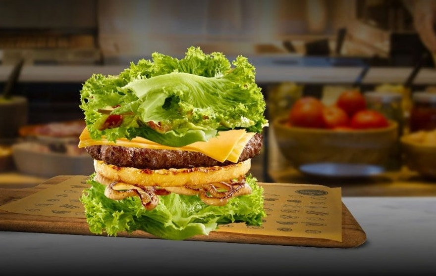 The new no-bun Big Mac available at Create-Your-Taste stations.