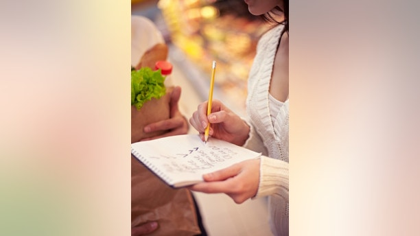 Close-up of shopping list in female hands