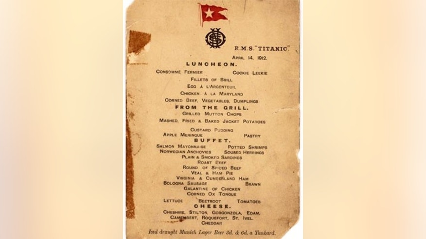 The last first-class luncheon menu from the ill-fated luxury cruise liner, the Titanic, dated April 14, 1912.