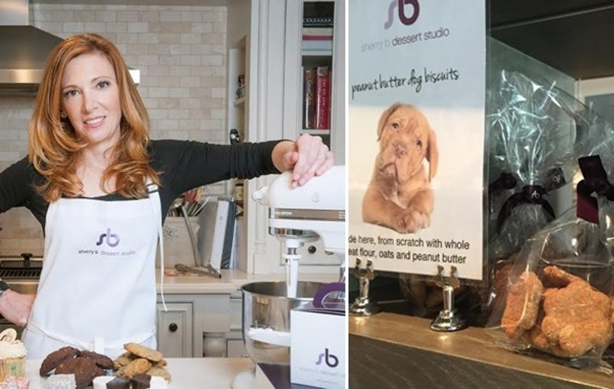 Pastry chef Sherry Blockinger sells treats for dogs in her bakery.