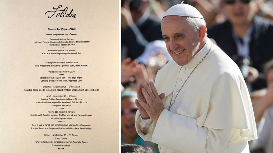 Felidia restaurateur Angelo Vivolo and owner Lidia Bastianich prepared meals for Pope Francis during the visit.