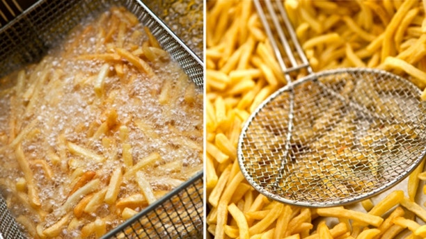 French fries on a collage