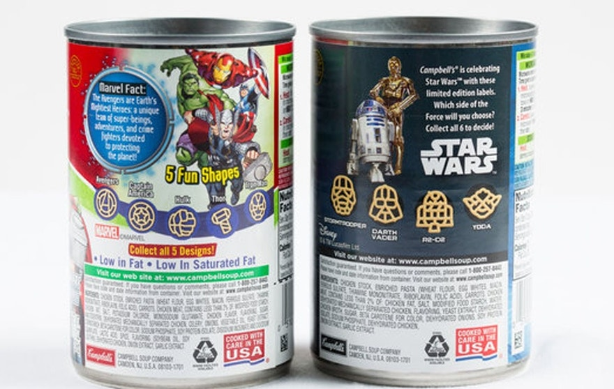 "Ingredients of the old ""Star Wars"" chicken noodle soup, left, and the new one."