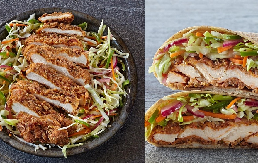The spicy fried chicken breast can be served up in a tortilla or on a bowl of shredded vegetables.