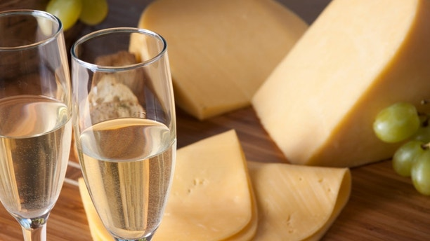 champagne, grapes and cheese