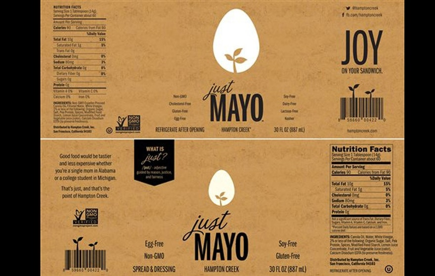 This photo provided by Hampton Creek showsthe current Just Mayo label, top, and the new Just Mayo label, bottom that clearly states the product is egg-free in addition to other changes. (Hampton Creek via AP)