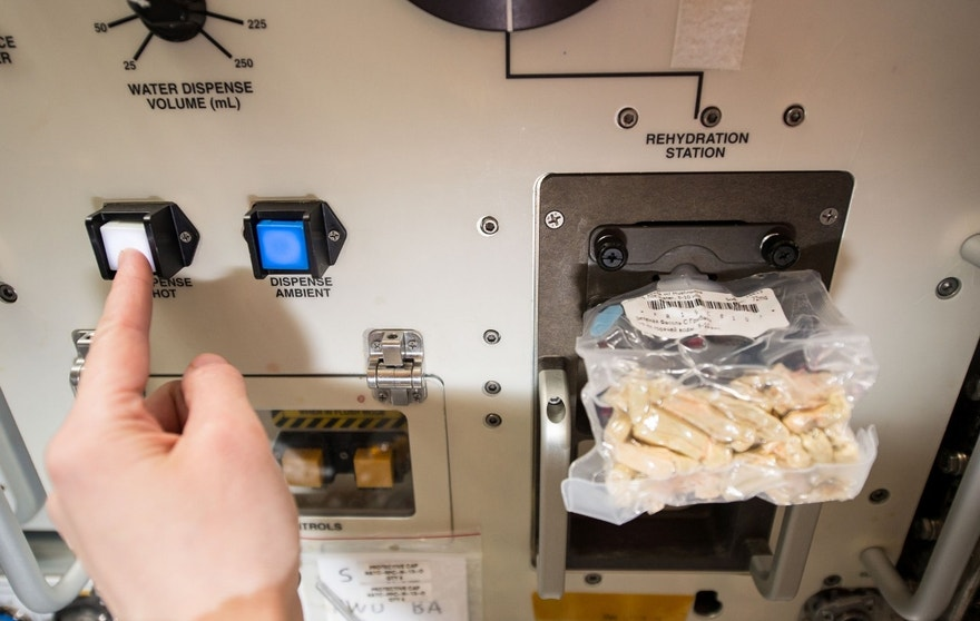 The space food rehydrator aboard the International Space Station helps make food a bit more edible.