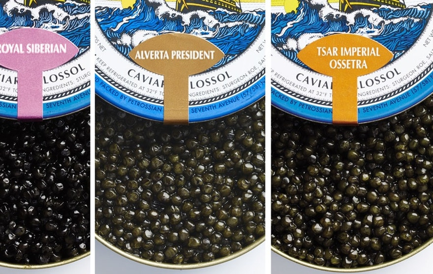 Three distinct varieties of caviar.