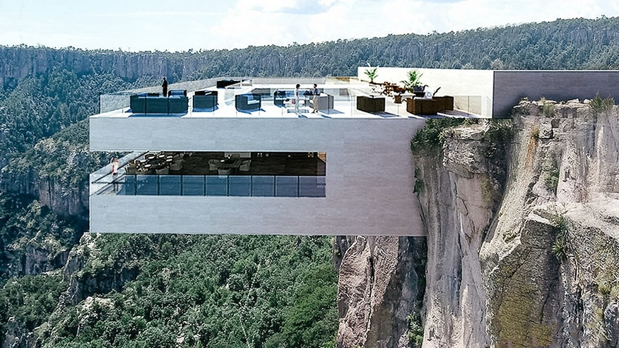 Could you enjoy a meal dining high above a rocky canyon?