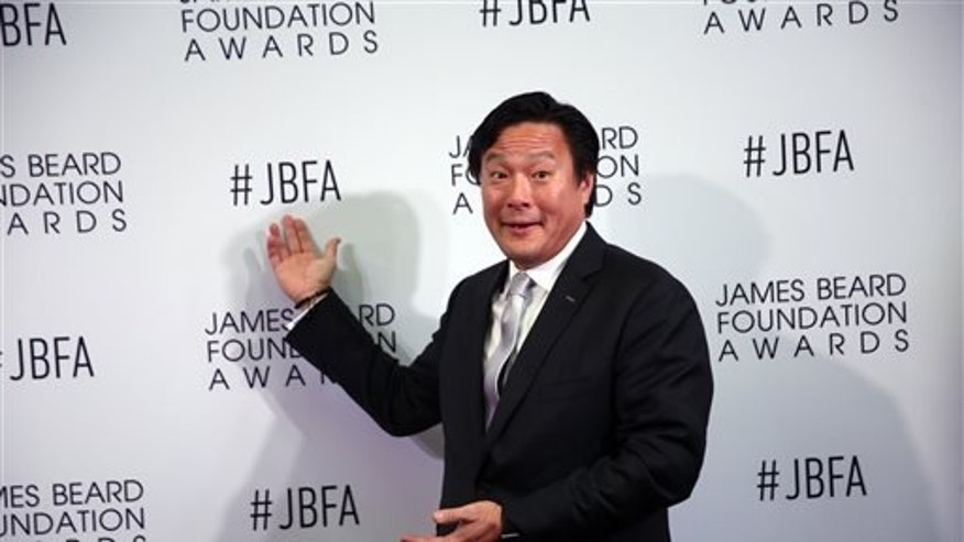 Chef and television personality Ming Tsai appears on the red carpet at the James Beard Foundation Awards held at the Lyric Opera of Chicago on Monday, May 2, 2016.