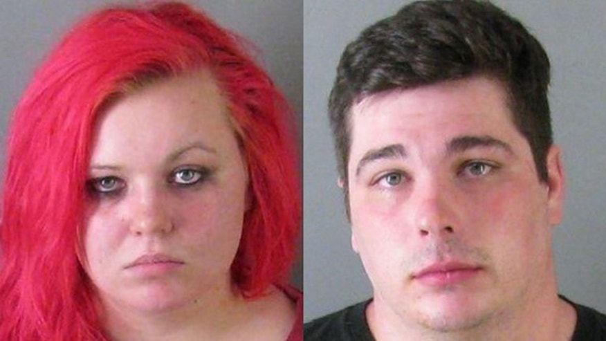 "Samantha Canipe, left, and Brad Beard of Gastonia were involved in a domestic dispute that resulting in the couple ""assaulting"" each other with pizza rolls."
