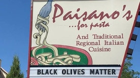 Is this sign offensive? The owner of an Italian restaurant in New Mexico doesn't think so.