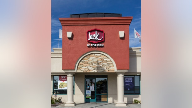 Salinas, United States - April 8, 2014: Jack in the Box Restaurant exterior. Jack in the Box is an American fast-food restaurant chain with  2,200 locations, primarily serving the West Coast of the United States.