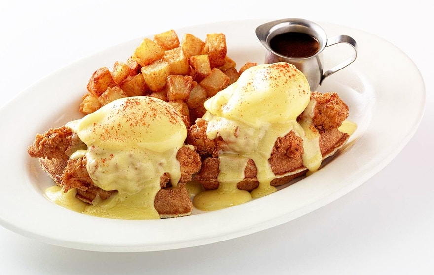 This Fried Chicken and Waffles Benedict clocks in at a whopping 2,580 calories.