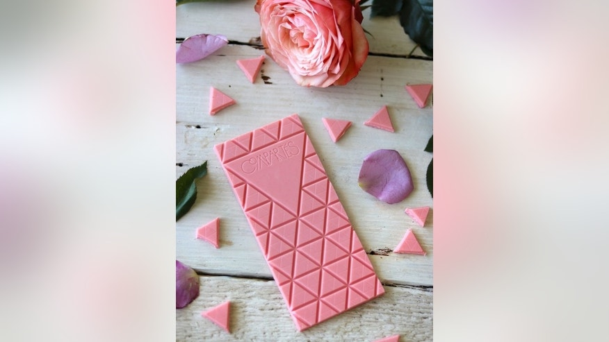 This pink white chocolate bar is infused with real rosé wine and decked out in edible crystalized rose petals.