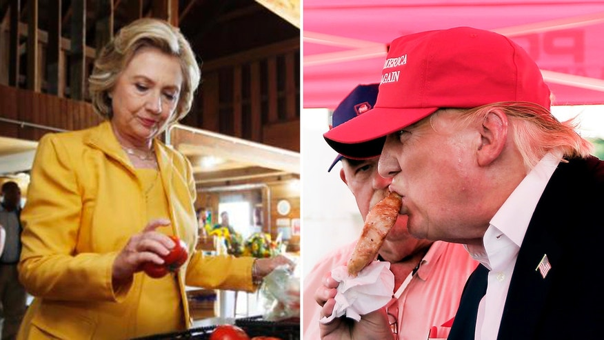 Hillary Clinton gets fresh tomatoes at Dimond Hill Farm in New Hampshire. Republican presidential candidate Donald Trump eats a pork chop on a stick at the Iowa State Fair. Both candidates are using food to appeal to voters-- in very different ways.