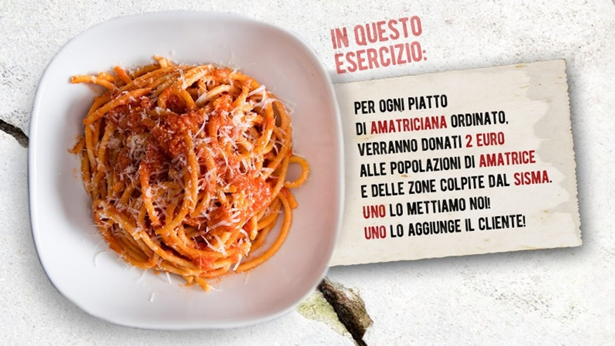 Restaurants in Assisi, Italy are donating proceeds from the sale of pasta  all'amatriciana to victims of the earthquake in the small Italian town of Amatrice.