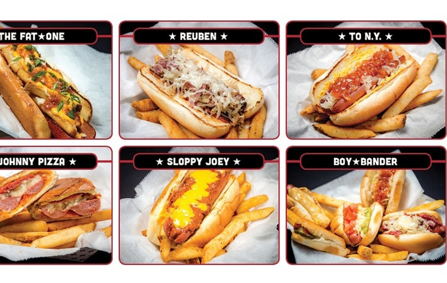 A sampling of the menu at Fatone's new hot dog-centric eatery.