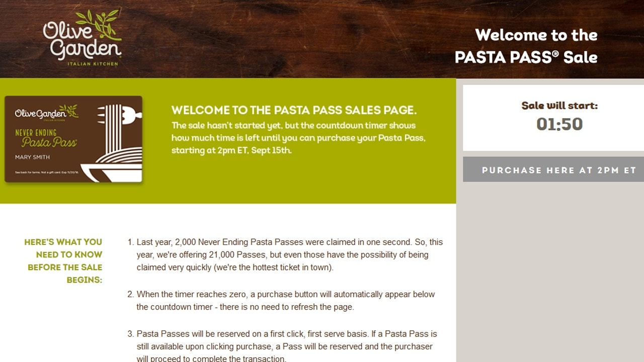 Olive Garden sells 21000 pasta passes in less than a