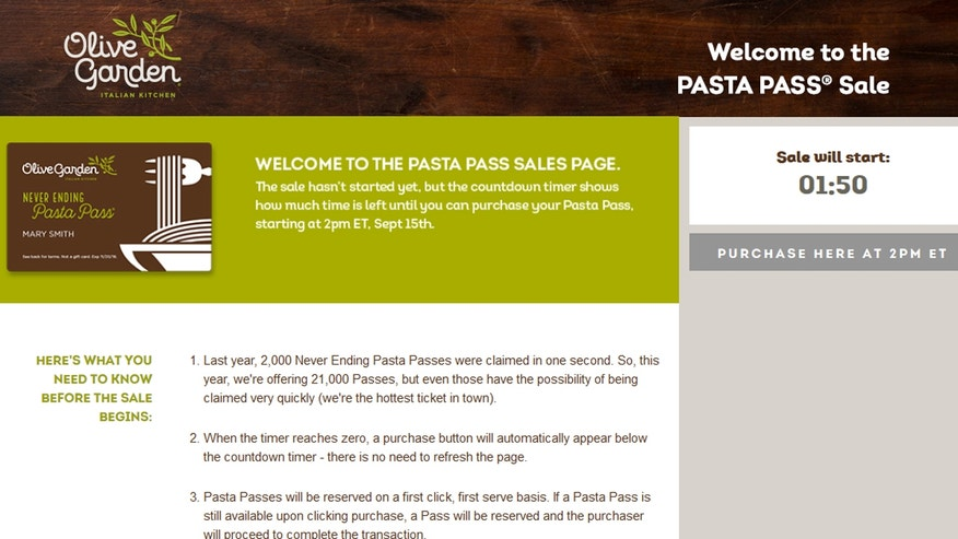 The highly anticipated annual sale of Never Ending Pasta Passes started at 2:00 p.m. ET.