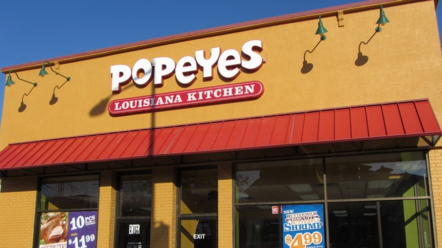 Washington DC, USA-November 24, 2014:  This Popeyes restaurant was spotted in Northwest Cleveland Park of Washington DC.  The restaurant has been repainted with a new look.  The interior has been changed as well.  Popeyes is a popular fast food restaurant that serves chicken and seafood.