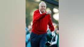 "File-This April 7, 2011, file photo shows Arnold Palmer reacting after his ceremonial tee shot before the first round of the Masters golf tournament in Augusta, Ga.   Palmer, who made golf popular for the masses with his hard-charging style, incomparable charisma and a personal touch that made him known throughout the golf world as ""The King,"" died Sunday, Sept. 25, 2016, in Pittsburgh. He was 87.  (AP Photo/Matt Slocum, File)"