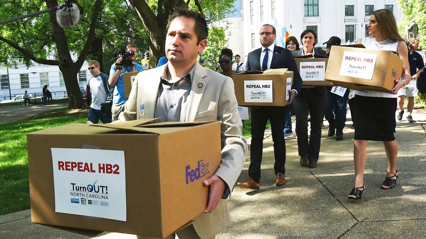 Democratic state representative Chris Sgro from North Carolina calls for the repeal of HB2, a law stipulating that transgender people must use the bathroom that correspondents to the sex listed on your birth certificate.