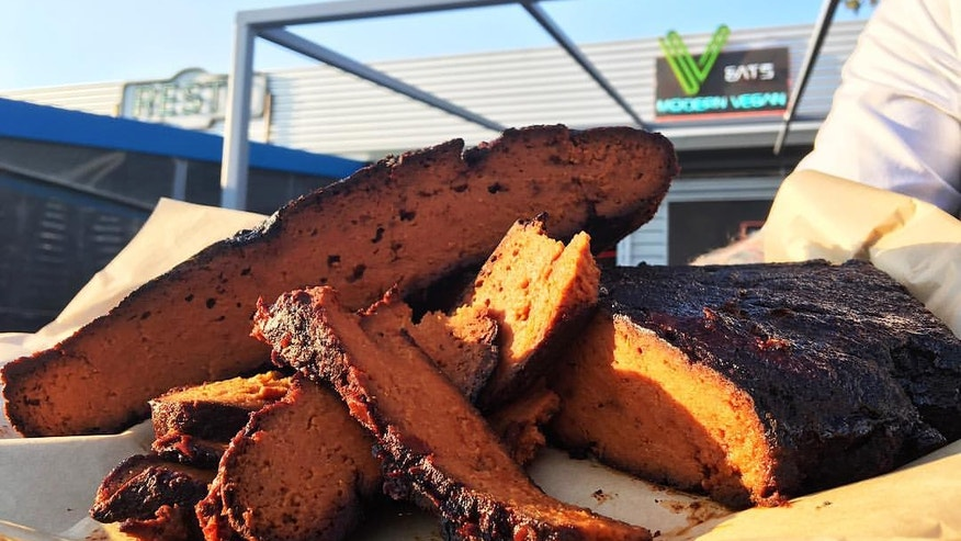 A full slab of vegan brisket made with seitan.