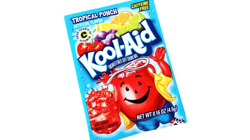"""West Palm Beach, USA - August 31, 2012: Studio shot of a packet of Tropical Punch Kool-Aid. Kool-Aid is a powder that is mixed with water and sugar to make a fruit flavored drink. Kool-Aid is made by Kraft Foods."""