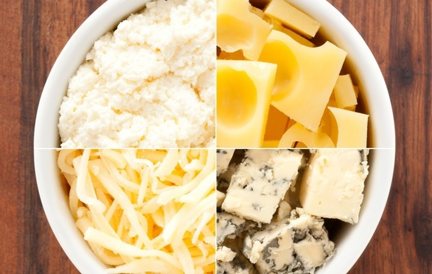 Composition of shots of different types of cheese in white bowl for contrast and variation concept. From top right and clockwise: gruyere, blue cheese, grated cheese and ricotta