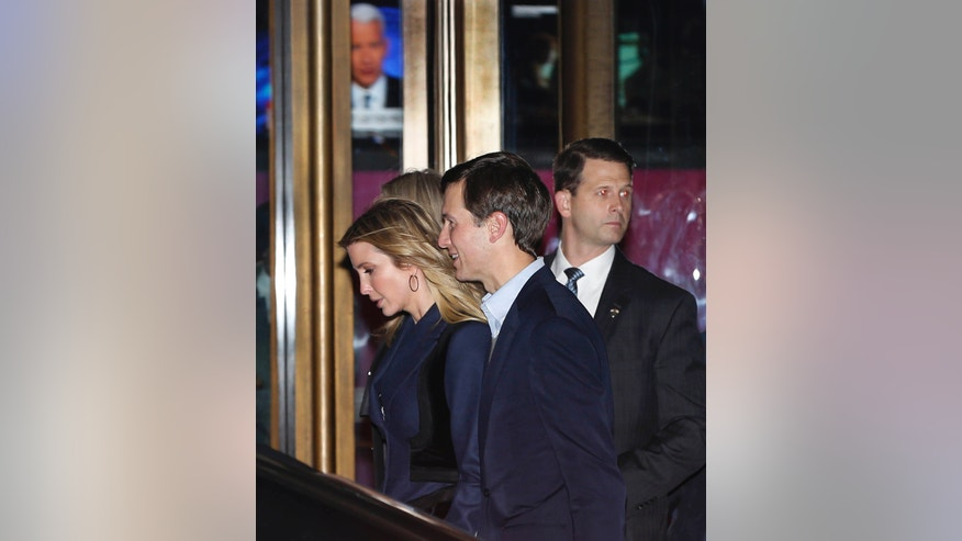 Ivanka Trump and her husband Jared Kushner walk past the Paley Center for Media as they leave the 21 Club after dining with President-elect Donald Trump Tuesday night.