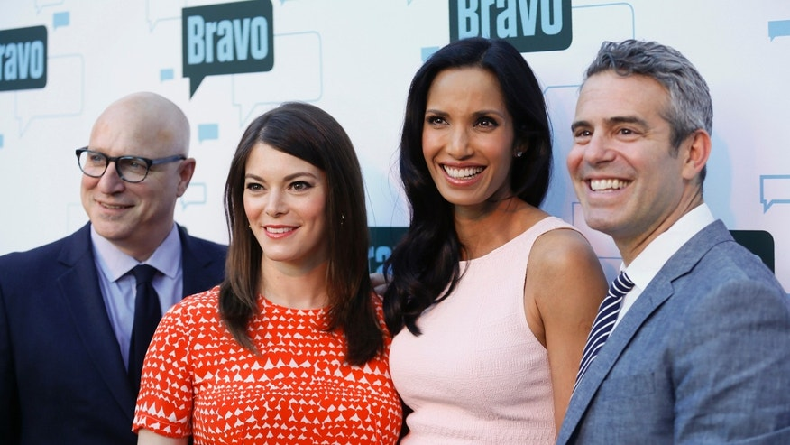 "Head ""Top Chef"" judge Tom Colicchio (L-R), judge Gail Simmons, host Padma Lakshmi and producer Andy Cohen."