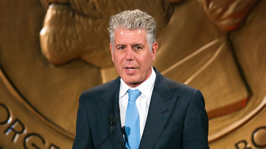 "Television personality Anthony Bourdain speaks about the show ""Parts Unknown"" after the show won a Peabody Award in New York May 19, 2014."