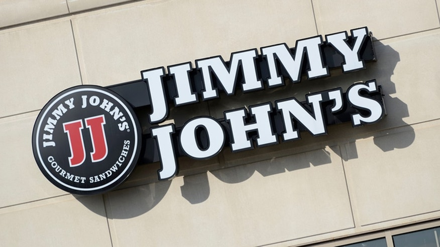 A Jimmy John's employee was caught playing with some food.