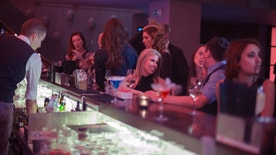 Large group of friends enjoying drinks in bar, having fun, view from behind  bar counter
