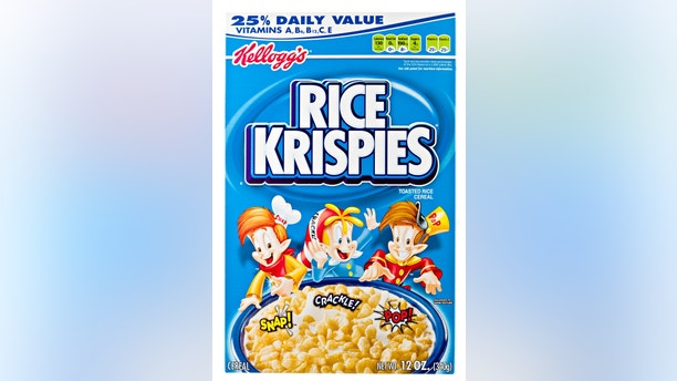 Chico, California, USA - March 11, 2011 : Front view of a 12 OZ blue cardboard box of Kellog\'s Rice Krispies. Kellog\'s is headquartered in Battle Creek Michigan, they sell their cereals and convenience foods in over 180 countries around the world.