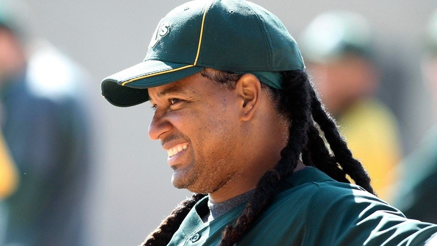 Manny Ramirez is pictured before a spring-training game with the Oakland Athletics in 2012.