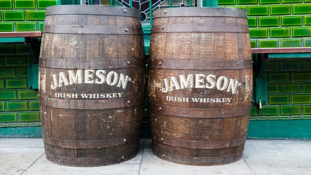 Dublin, Ireland - June 2, 2013: Two Jameson Irish Whiskey barrels sit outside a pub called O'Briens in Dublin.