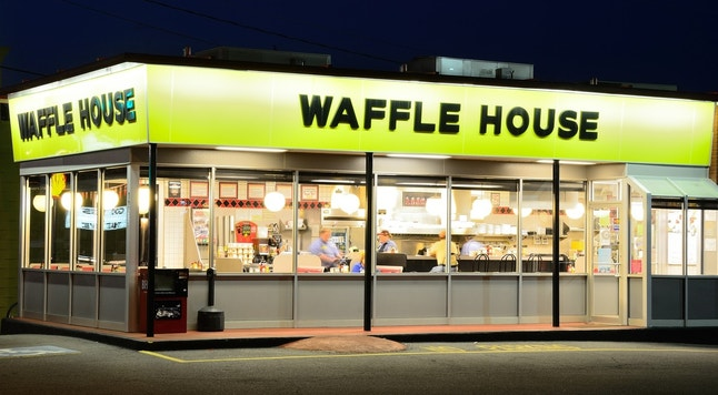 Athens, USA - June 1, 2011: Waffle House is an iconic diner in the Southern United States and is popular for both breakfast and late night dining.