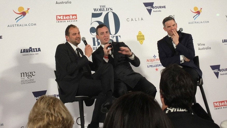 Eleven Madison Park's co-owners, Daniel Humm (L) and Will Guidara (C), accepted the 2017 award in Melbourne, Australia.