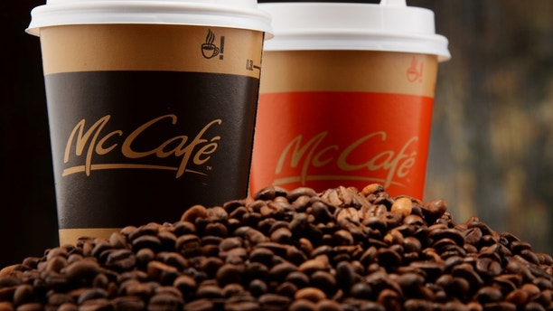 Poznan, Poland - March 18, 2016: McCafé is a coffee-house-style food and drink chain, owned by McDonald's.