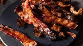 Greasy Hot Grilled Bacon Ready to Eat
