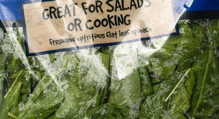 Miami, USA - May 24, 2013: Little Salad Bar all natural spinach bag. Little Salad Bar brand is owned by Aldi, Inc.