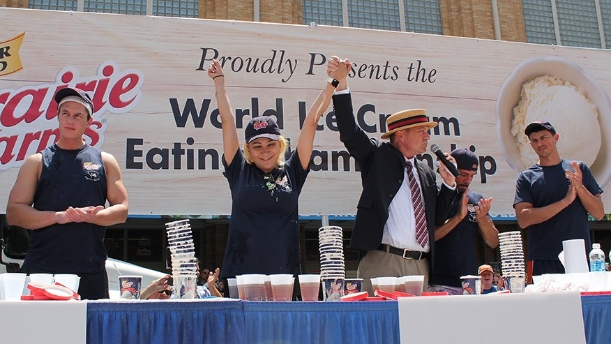 Miki Sudo, a top-ranked competitive eater from Las Vegas, set the record by downing 16 pints of ice cream in just six minutes.