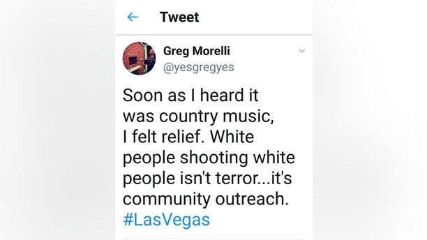 "Greg Morelli's controversial tweet. See SWNS story NYCTWEET: A Jewish deli is being boycotted after its owner 'celebrated' the Las Vegas massacre tweeting: ""White people killing white people isn't terror… it's community outreach.""  Greg Morelli of Max's Deli said he felt ""relief"" when he heard about the shooting because it took place at a country music concert. In a provocative tweet which has now been deleted the 49-year-old wrote: ""Soon as I heard it was country music, I felt relief. ""White people shooting white people isn't terror… it's community outreach."""